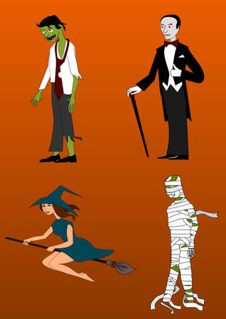 Collection of Halloween characters Vector
