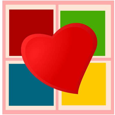 Heart on checkered plaid Illustration