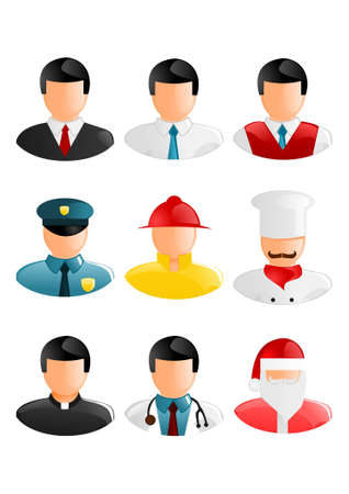 Collection of people occupation icons Vector