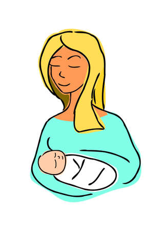 childbearing: Mother and child cartoon illustration