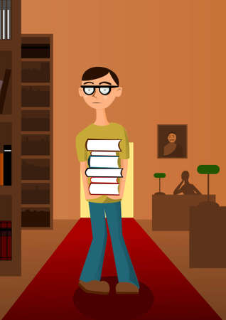 Student with pile of books in the library Stock Vector - 11284379