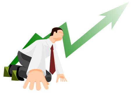Office worker in low start position Stock Vector - 11284382