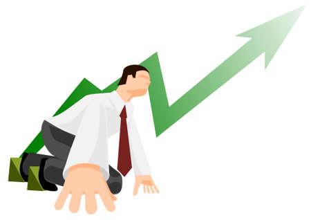 Office worker in low start position