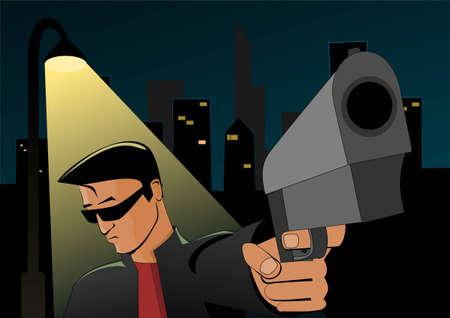 citylife: Young man with gun standing under street lantern