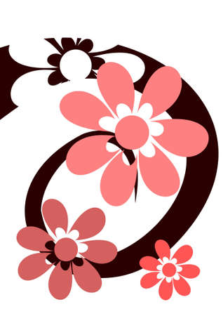 Spiral with pink flowers Stock Vector - 11284369