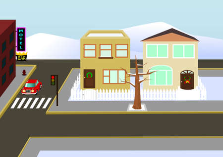 Christams town view Illustration