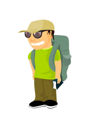 backpacker: Young backpacker with travel guide Illustration