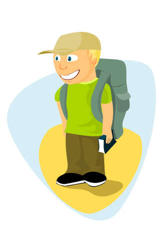Backpacker boy with travel guide