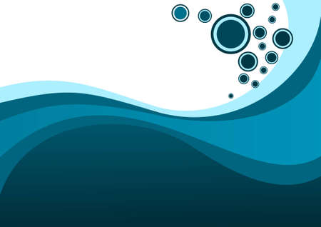 Blue waves and bubbles Illustration