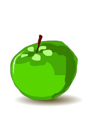 Green apple painting imitation Vector