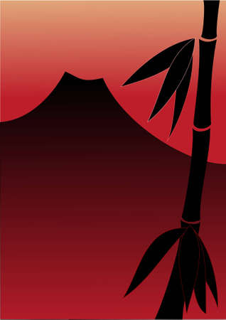 Bamboo and red sunset with mountain