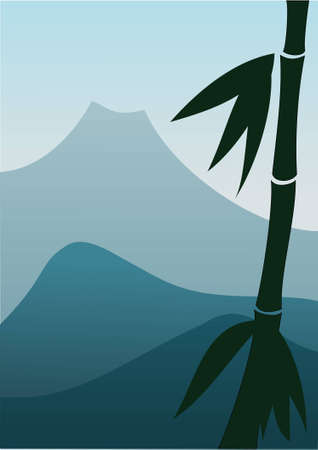 Mountain landscape with bamboo at foreground Vector