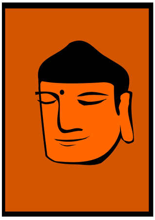 Buddha head on orange background Vector