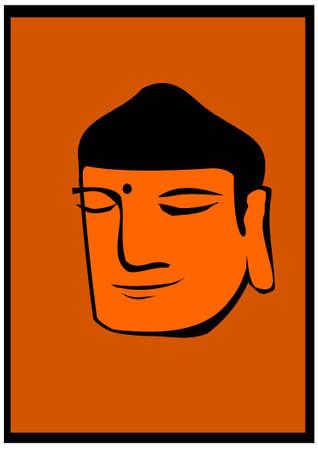 Buddha head on orange background Stock Vector - 11284422