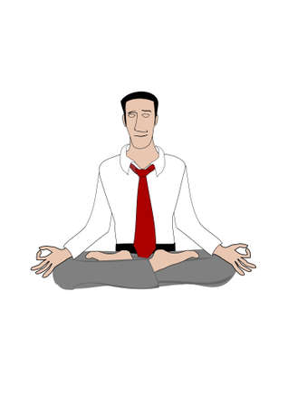 employee satisfaction: Young businessman sitting in lotus position and meditating