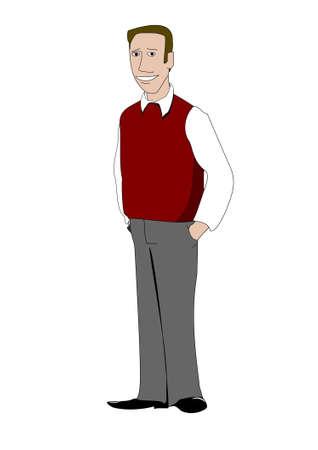 office wear: Young teacher wearing red sweater