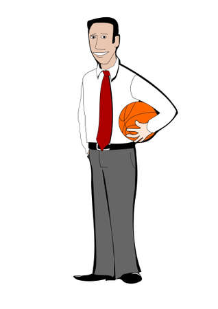 tired person: Young businessman with basketball ball