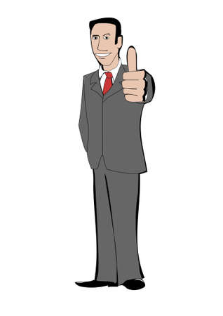 Businessman in suit shows thumb up Illustration