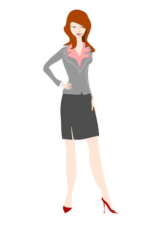 Young businesswoman stands with hands on her hips Vector