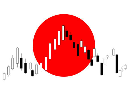 Candlestick chart with Japanese flag in background
