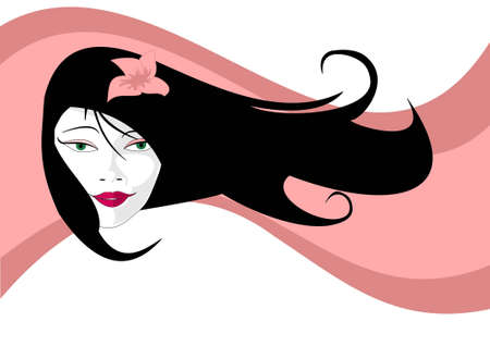Young asian woman with fluttering hair with flower and waves at background Vector