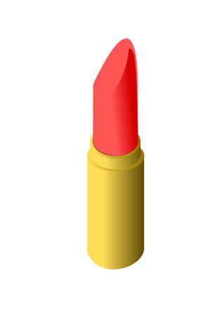 perfumery: Red lipstick in golden case Illustration