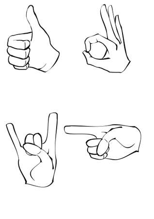 select all: Vector set of 4 realistic hands: thumb up, ok, rock!, point Illustration