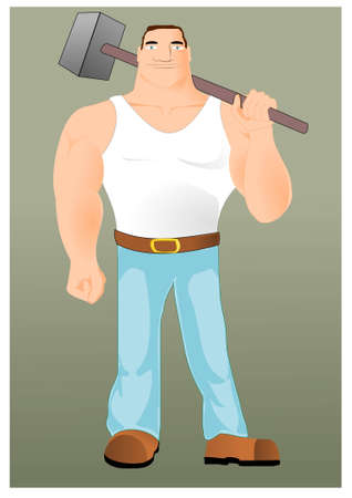 labor strong: Big workman with hammer Illustration