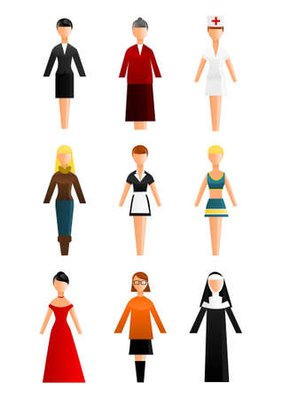 nun: Collection of women occupation icons Illustration