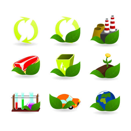 eco flowers basket: Collection of ecology icons