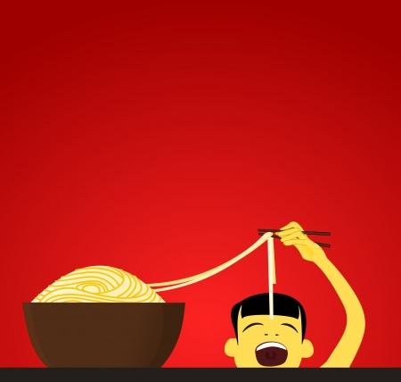 Chinese child eats noodles Illustration