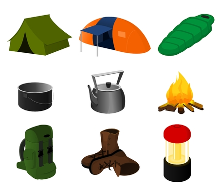 sleeping bag: Collection of vector camping icons