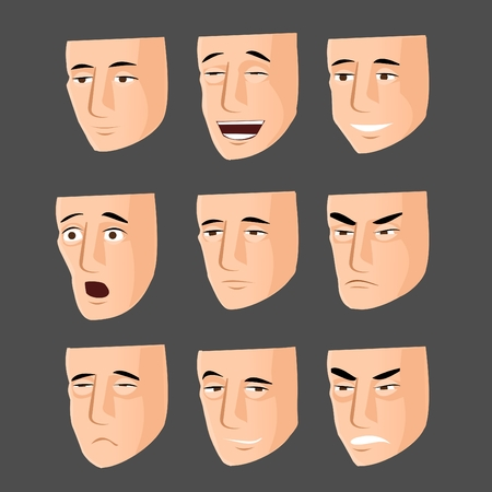 emotion faces: Collection of cartoon emotion faces Illustration