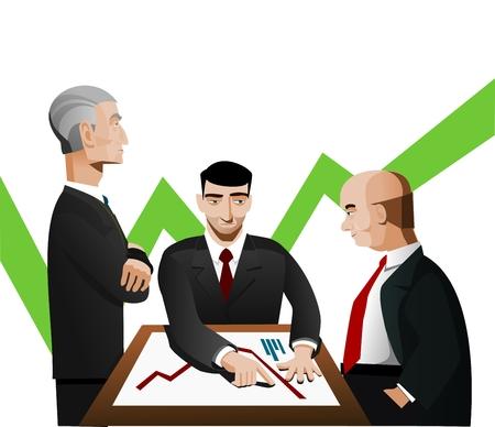 Three businessmen discussing diagram Illustration