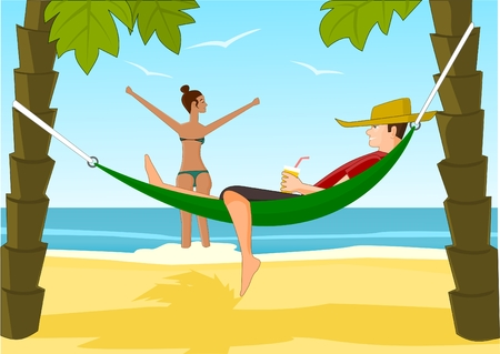 Young man and his girlfriend relaxing on a beach Vector