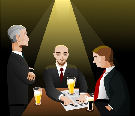 Three businessmen relaxing after work