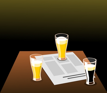 beers: Three beers and newspaper on a table