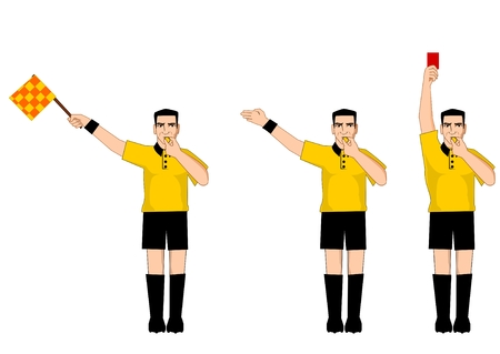 soccer referees hand with red card: Collection of football referee gestures Illustration