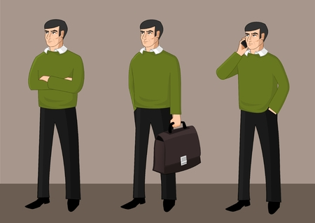 Set of businessman activity Illustration