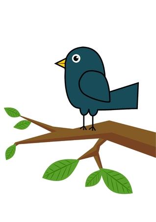 Blue bird on a tree branch
