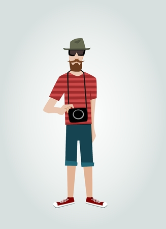 Hipster with camera and beard