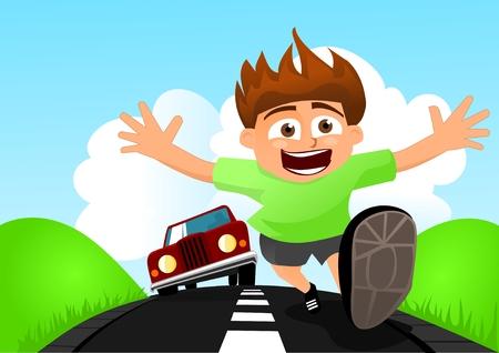 maniaco: Bambino fuggendo da auto Vettoriali