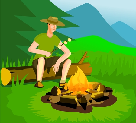 camp fire: Relaxing man near campfire Illustration