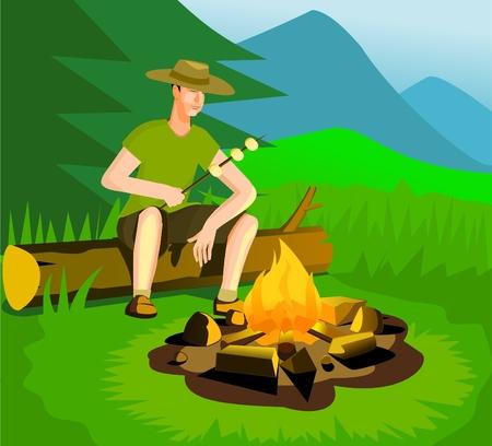 Relaxing man near campfire