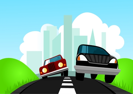 overtake: Running away from city Illustration