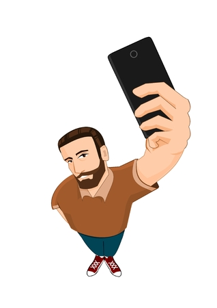 from above: Bearded man doing selfie from above