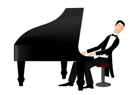 tocando piano: Hombre que juega el piano con pasi�n