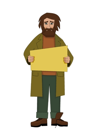 Homeless man with cardboard Illustration