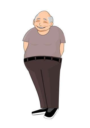 hombre calvo: Sonreír pensionista chino