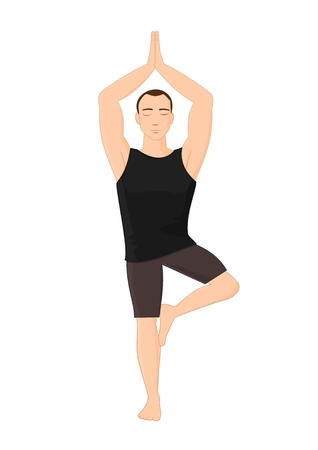 Man in yoga tree pose